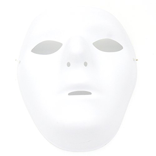 Kvvdi Female Scary White Blank Half Face Masks for Halloween DIY Mask