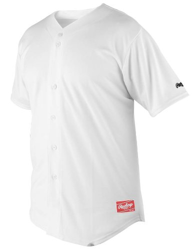 Rawlings Youth Full Button Jersey (White, - Baseball Youth Jersey