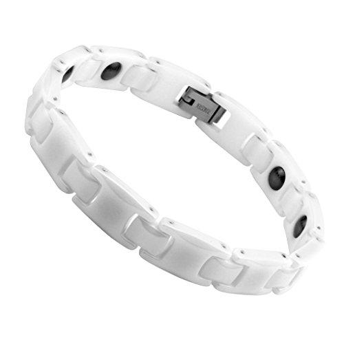 Zysta Mens 10mm Black White Ceramic Stainless Steel Magnetic Bracelet with Magnets, Men Magnetic Bangle Wristband (Steel White Ceramic)