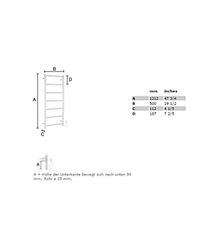 Smedbo fk706/Dry Handtuchw/ärmer elektrisch Hohe Edelstahl Poliert 80/W