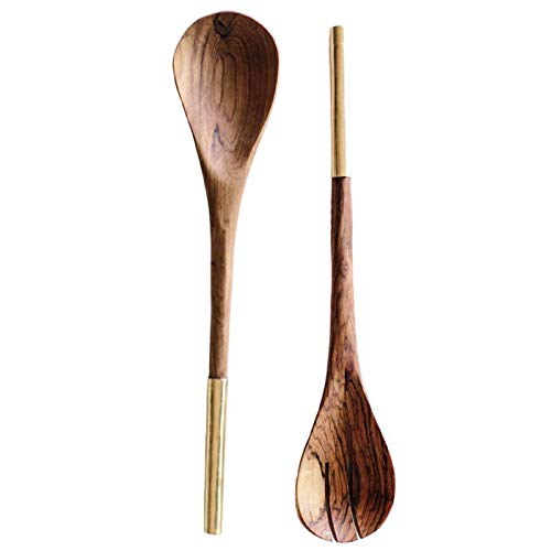 Zeal Living African Hand Carved Olive Wood Serving Spoons with Brass Handles