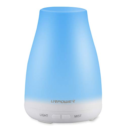 URPOWER 2nd Version Essential Oil Diffuser Aroma Essential Oil Cool Mist Humidifier with Adjustable Mist Mode,Waterless Auto Shut-off and 7 Color LED Lights Changing for Home (White) ()