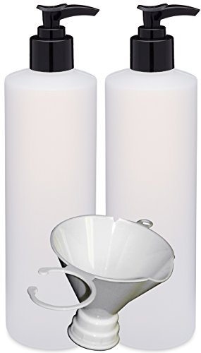 Earth s Essentials Two Pack of Refillable 16 Oz. HDPE Plastic Pump Bottles with Patented Screw On Funnel-Great for Dispensing Lotions, Shampoos and Massage Oils.