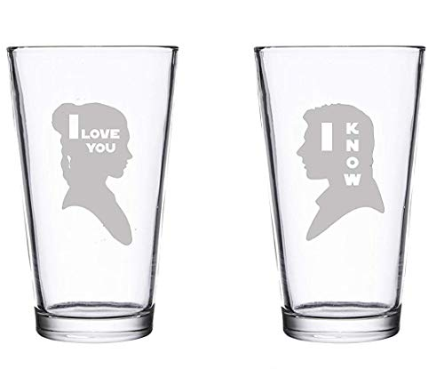 I Love You I Know Glassware Pint Set - Etched SW Wedding Couple Gift