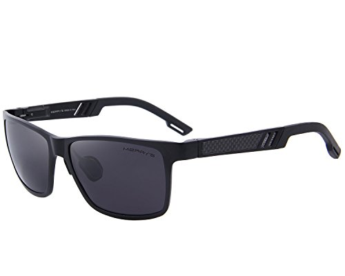 MERRYS 2016 Hot Retro Aluminum Frame Driving Polarized Sunglasses For Men Women S8571 (Black 57)