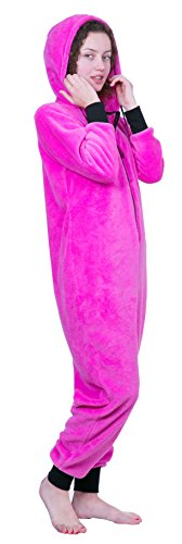 - Totally Pink Women's Warm and Cozy Plush Neon Onesies for Women One-Piece Novelty Pajamas (Medium, Neon Fuchsia)