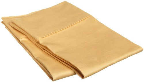 Lux Two  Pieces Bed Soft Standard  Pillow Cases Gold Color P
