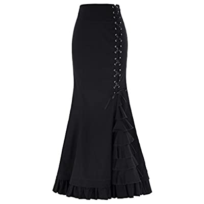 Belle Poque Women's Victorian Steampunk Ruffled Fishtail Mermaid Skirt BP203 at Women's Clothing store