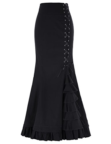 Classic Cotton Women's Gothic Long Skirt High Waist Lace Up Size XL Black - Skirt Classic Ruffled