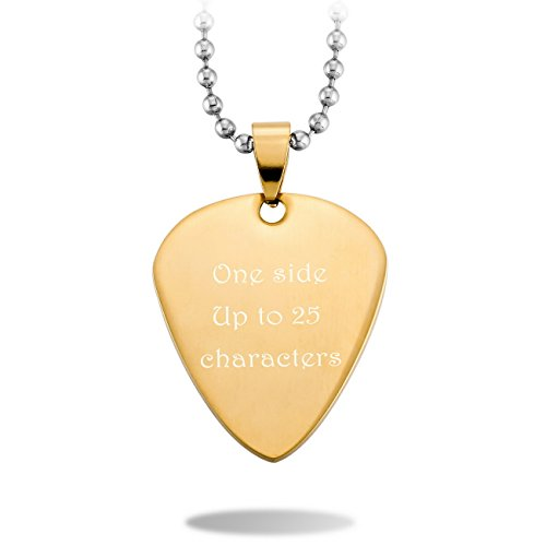 MeMeDIY Gold Tone Stainless Steel Pendant Necklace Guitar Pick Heart,come with Chain - Customized (Guitar Pick Engraving)