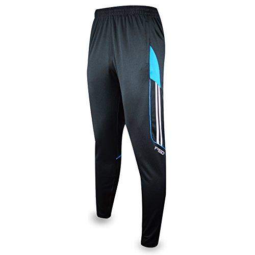 27' Multi Pocket (Shinestone Men's Sportswear Soccer Training Pants Fitness Pants Casual Pants (Small, Black Blue))