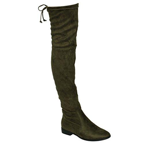 Beston FM33 Damen Stretchy Snug Fit Oberschenkel Hohe Kordelzug Block Heel Stiefel Olive