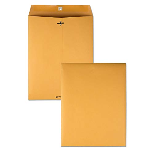 (Quality Park 10 x 13 Clasp Envelopes, Gummed, Moisture-Activated Adhesive for Permanent Secure Seal, 28 lb Paper, Brown Kraft, 100/Box (QUA37897) (Renewed))