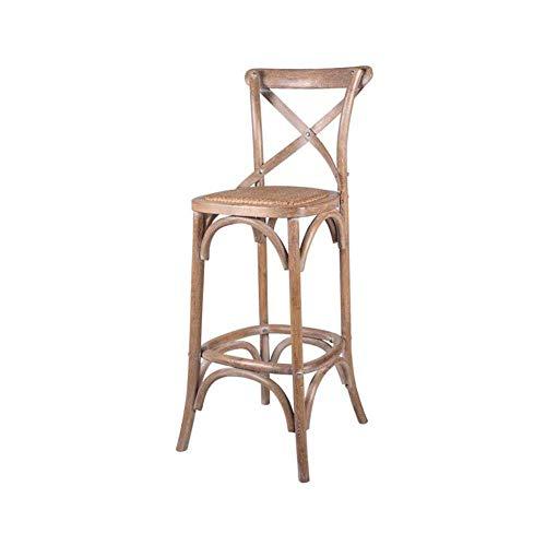(ASDAD Barstools Solid Wood Bar Tall Chairs Backrest Footrest Retro Kitchen Breakfast,75cm )