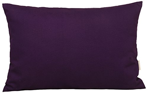 "TangDepot Cotton Solid Throw Pillow Covers, 12"" x 20"" , Purp"