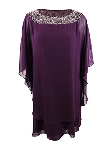 Xscape Womens Plus Embellished Chiffon Special Occasion Dress Purple 22W