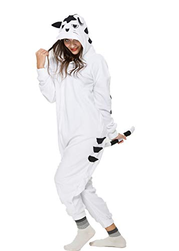 Unisex Animal Halloween White Tiger One-Piece Pyjamas Jumpsuit