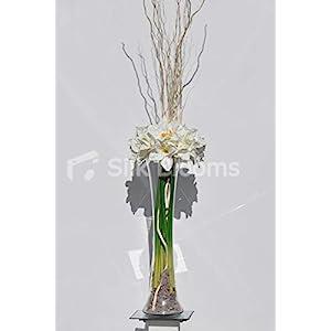 Silk Blooms Ltd Artificial White Fresh Touch Amaryllis Arrangement w/Preserved Mitsumata Wood 24