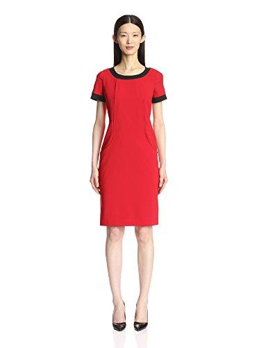 SOCIETY NEW YORK Womens Contrast-Binding Sheath Dress