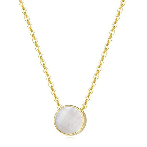 Carleen 14K Solid Yellow Gold Mother of Pearl Tiny Dot Round Coin Dainy Necklace Pendant for Women Girls, 18