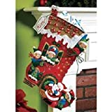 Bucilla 18-Inch Christmas Stocking Felt Applique Kit, 86146 Holiday Decorating