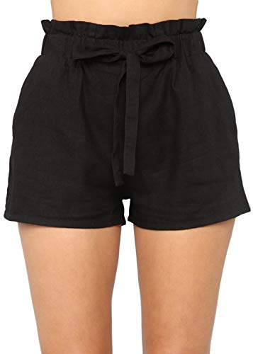 Yissang Women's Casual Loose Paper Bag Waist Shorts with Bow Tie Belt Pockets Black X-Large