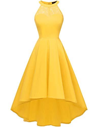 DRESSTELLS Women's Vintage 50's Bridesmaid Halter Floral Lace Cocktail Prom Party Hi-Lo Dress Yellow XL