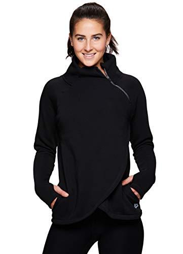 Zip Neck Fleece Shirt - RBX Active Women's Zip Workout Pullover Black XL