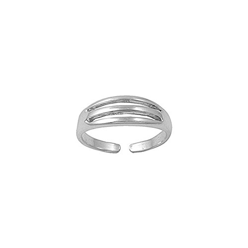 .925 Sterling Silver Ribbed Adjustable Toe Band Ring
