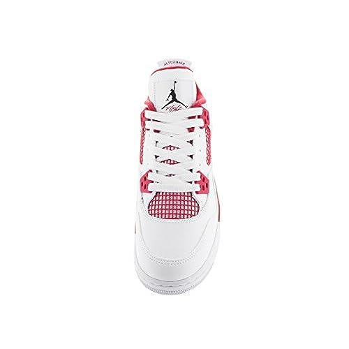 5e085714af0761 Jordan Nike Kids Air 4 Retro Bg White Black Gym Red Basketball Shoe ...