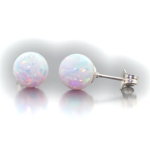 Handcrafted Brilliant Opal Earrings (Trustmark 925 Sterling Silver 8mm Fiery White Created Opal Ball Stud Post Earrings, Lorraine)