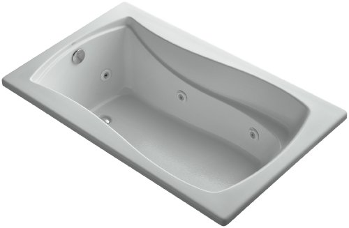 KOHLER K-1239-H-95 Mariposa 60-Inch X 36-Inch Drop-In Whirlpool with Reversible Drain and Heater, Ice Grey (Finish Whirlpool Bath Reversible Tub)