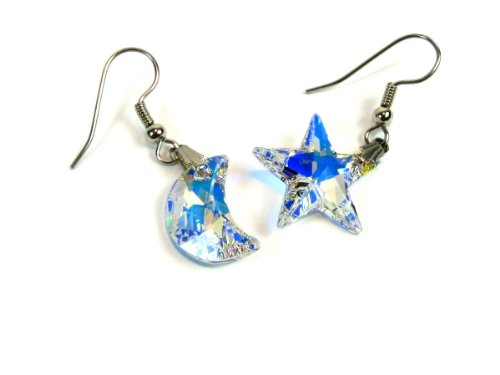 Moon and Star Swarovski Crystal Element Aurore Boreale AB Dangle Earrings