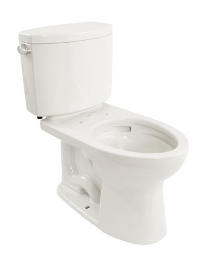 TOTO CST454CEFG#01 Drake II Two-Piece Elongated 1.28 GPF Universal Height Toilet with CEFIONTECT, Cotton White by TOTO