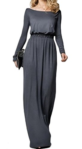 Dresses Grey Collar Women Maxi Long Elastic for Waist Cutaway Coolred Sleeve dqxPg7wvA