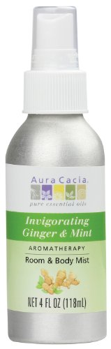 Aura Cacia Room and Body Mist, Invigorating Ginger and Mint, 4 Fluid Ounce (Aura Cacia Mist)
