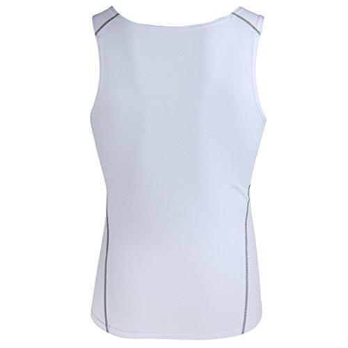 ビル生息地脅かす【ノーブランド品】 男女兼用 スポーツウェア ヨガ 体操 伸縮性 ノースリーブ シャツ ベスト 全3色6サイズ - XXXL, 白