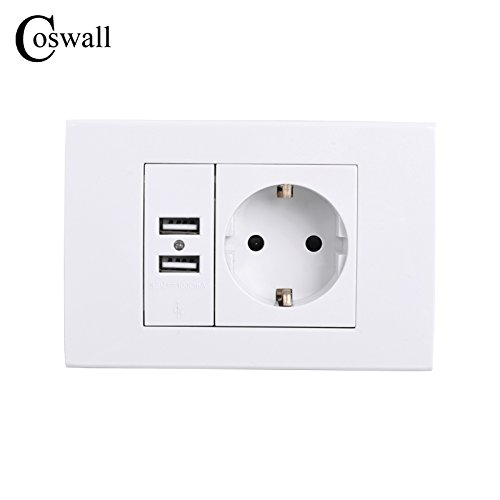 16A EU Plug Wall Power Outlet Socket with Dual USB Port for Phone Charging 250V