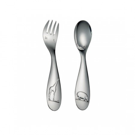 Christofle Savane Silver Plated Two-Piece Baby Flatware Set #0079314