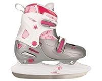 Eishockey Schlittschuhe Kinder größenverstellbar (30 - 33||silber weiß rosa)