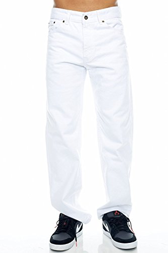 Blue Bay Industries Mens Jeans Regular Fit Straight Leg 5 Pockets Zipper Fly Jeans White 34x32