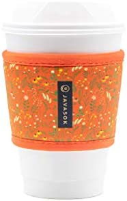 Java Sok Reusable Hot Coffee Cup Sleeve for Hot Coffee and Tea from Starbucks Coffee, McDonalds, Dunkin Donuts, More (Coral Floral)