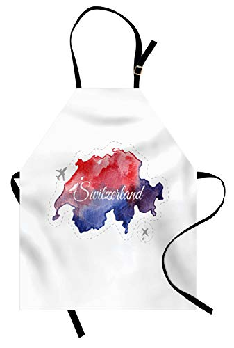 Ambesonne Switzerland Apron, Travel Around The World Theme Map with Polygonal Style Elements, Unisex Kitchen Bib Apron with Adjustable Neck for Cooking Baking Gardening, Indigo Vermilion and Grey]()