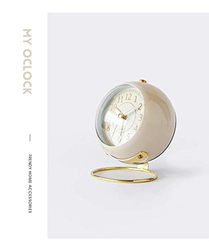 JUSTUP Small Table Clocks, Classic Non-Ticking Tabletop Alarm Clock Battery Operated Desk Clock with Backlight HD Glass for Bedroom Living Room Kitchen Indoor Decor (White) - UNIQUE STYLING DESIGN: Size:4.1*3.3*3 inch. Metallic iron look, well made, gold Arabic numbers, an awesome clear and simple style With metal base, looks conspicuous in your nightstand. SILENT: Non-ticking, quiet and smooth sweeping quartz movement and second hand, ensure a good sleep and best working environment. EASY TO USE: Easy to set the alarm and time on back of the clock. Number dial which is easy to read and button for backlight, simply press the button when staying in bed, time will be clearly visible at night. - clocks, bedroom-decor, bedroom - 31ko8vF5rUL -