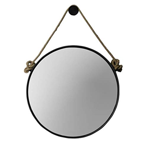 Retro Metal Wall Hanging Mirror with Hemp Rope Round Decorative Bathroom Mirrors -