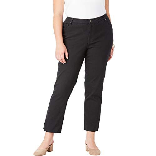 - Roamans Women's Plus Size Crop Straight-Leg Jean - Black, 24 W