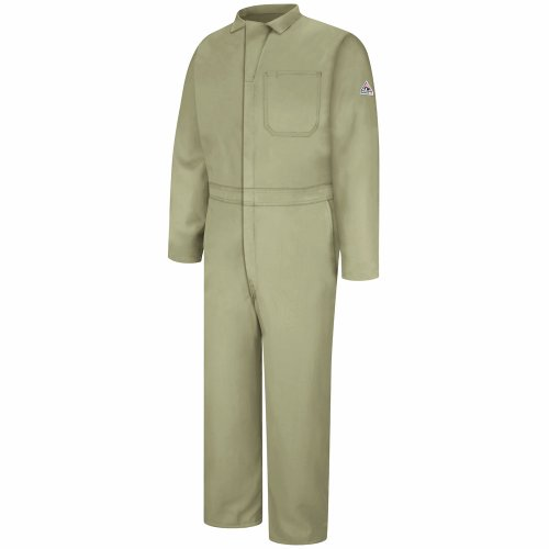 Bulwark Flame Resistant 4.5 oz Nomex IIIA Long Classic Coverall with Hemmed Sleeves, Tan, Size 56 by Bulwark FR (Image #1)