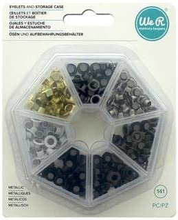 We R Memory Keepers 660385 0633356603856 Storage Crop-A-Dile-Eyelets and Case-Metallic 141 Pieces