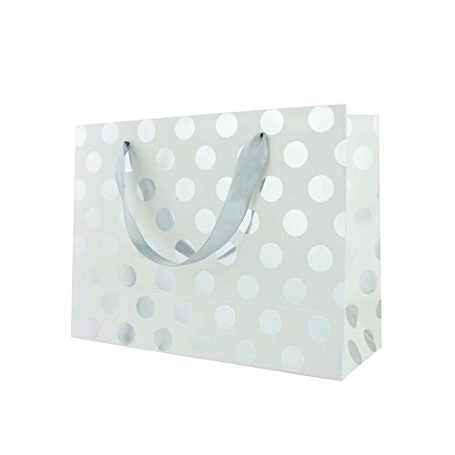 FOONEA 12 Pack Silver Polka Dots Bags with Handle for Bridesmaid, Wedding, Christmas, Holiday, Birthday, Party Favor and Graduation Presents, Silver Gift Wrap Bags]()
