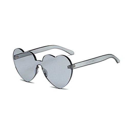 lente de montura color sin transparente de en corazón caramelo forma Gris de sol Aiweijia Eyewear girl Women gafas wHRqnP0v